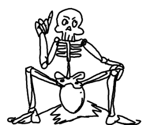 skeleton with blonde hair, laying