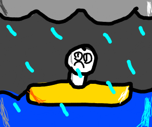 guy rafting in a storm