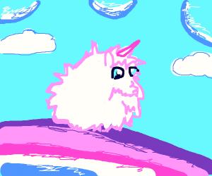 Pink Fluffy Unicorn Dancing On Rainbows
