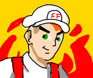 pokemon trainer with red hair stands in fire