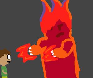 evil fire monster attacks lil boi