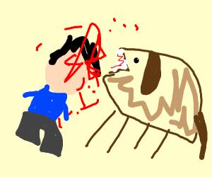 Deformed dog devouring depressed unfaced man