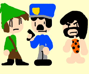 Link with a cop and a caveman