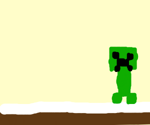 a creeper in a snow biome (Minecraft)