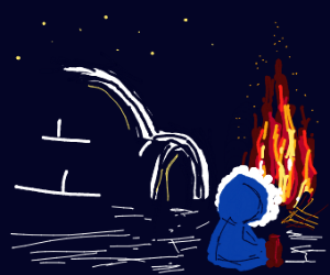 Eskimo in the Arctic at a campfire