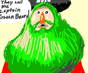 Green bearded hairy man