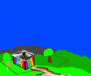 a colorful house with one window