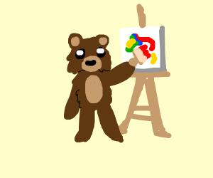 fluffy bear paints nice artwork
