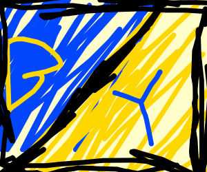 half blue half yellow (B on blue, G on yellow
