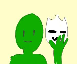 Green guy taking off white mask