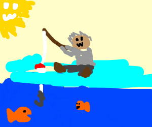 person goes fishing