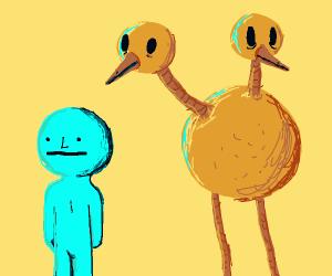Duolingo Bird right behind someone