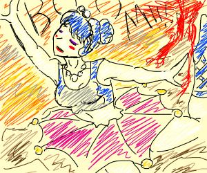 ballerina with volcano erupting in background