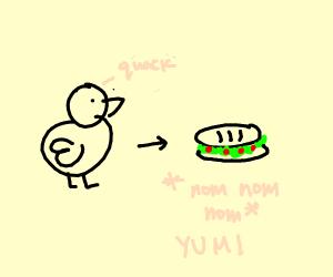 duck eats sandwich
