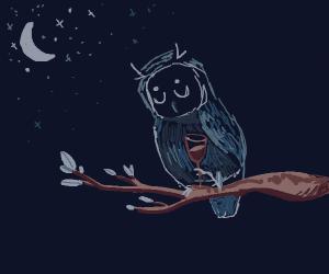 owl w/ wine cup