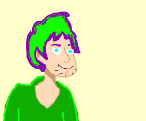 Shaggy with purple and green hair