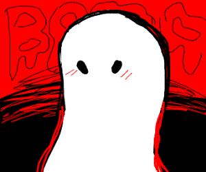 cute ghost blushing. he thinks he's spooky