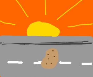 A potato on a road