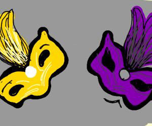 Purple mask man making fun of yellow mask man