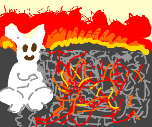 city being burnt by rabbit