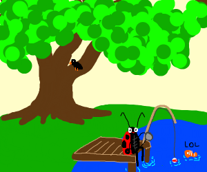 Ladybug fishing in a lake in the forest