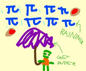 Raining pi - get under your purple umbrella!