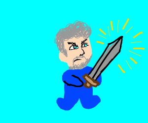 Man faced baby holding legendary sword