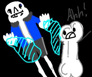 Sans from Undertale shoots blue fire at bone