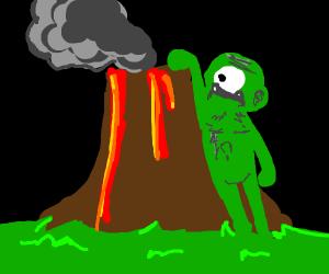 giant climbing a volcano