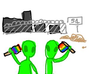 Aliens celebrate pride in area 51