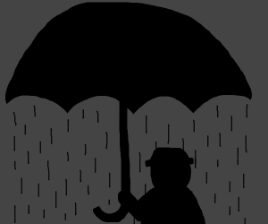 Silhouette of a man with an umbrella raining