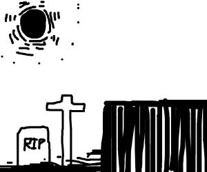 Sewer graveyard set in the Dark World