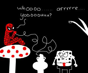Spider-Man slowly questions SpongeBob.