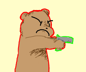big brown bear using a gun