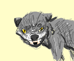 very angry wolf with yellow eyes