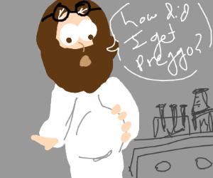 scientist jesus wondering how he got pregnant