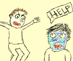 white guy attacks blue guy
