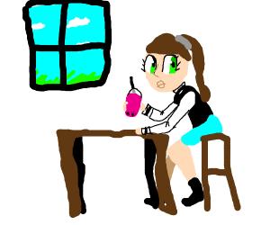 anime ponytail girl drinking pink smoothie