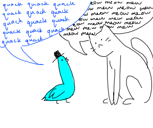 cyan duck man chatting with white cat