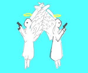 Dueling angels commit suicide