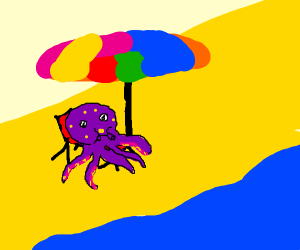 Octopus chilling on a beach