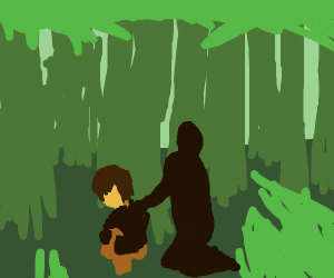 shadow person comforts injured man in forest