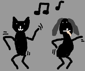 black cat/dog dancing