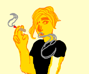 gold guy smokin weed