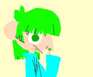 girl with green hair and eyes picks her nose