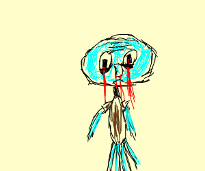 Squid ward crying blood and nose bleeding