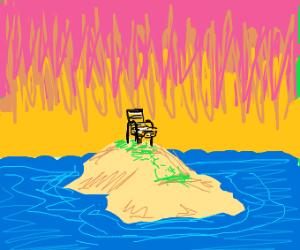 Deserted island with a singular lawn chair