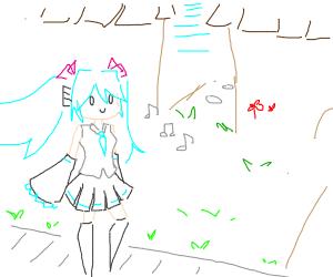 Hatsune Miku takes a walk