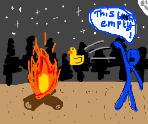 Someone yeeting a rubber duck into a campfire