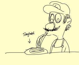 luigi slurping some spaghetti